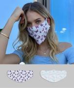 ASOS DESIGN – Gesichtsmasken im 2er-Pack mit Schmetterlings- und Himme...