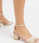 Truffle Collection – Sandalen mit mittelhohem Blockabsatz in Beige, we...
